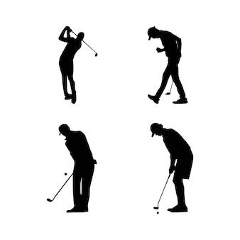 Sylwetka ilustracji wektorowych gracza w golfa