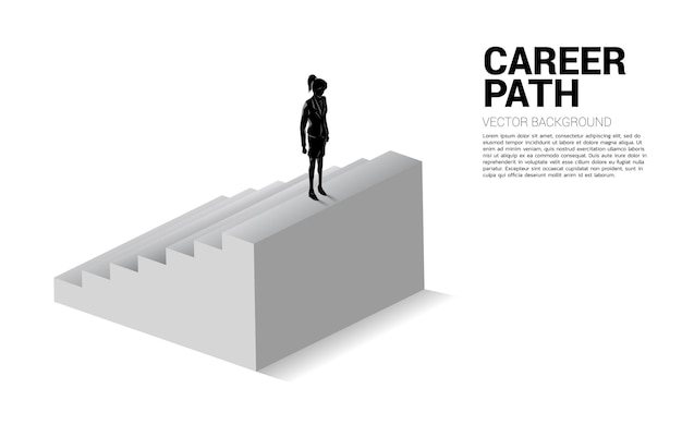 Sylwetka interesu stojąc na szczycie schodów.