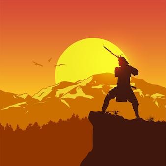Sylwetka japońskiego samuraja z mieczem stojąc o zachodzie słońca