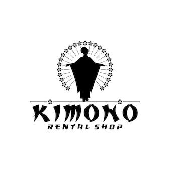 Sylwetka japońskiej kobiety noszącej logo butiku kimono shop lub japońską odzież