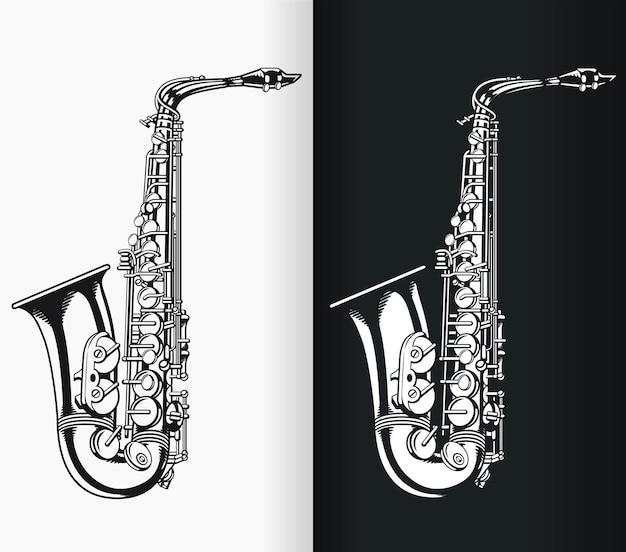Sylwetka jazzowa muzyka saksofonowa tenorowa czarna ilustracja