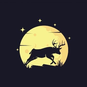 Sylwetka jelenia na tle księżyca