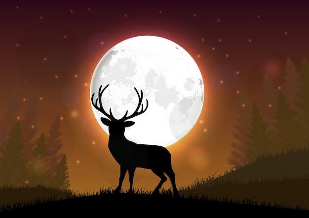 Sylwetka jelenia stojący na wzgórzu w nocy