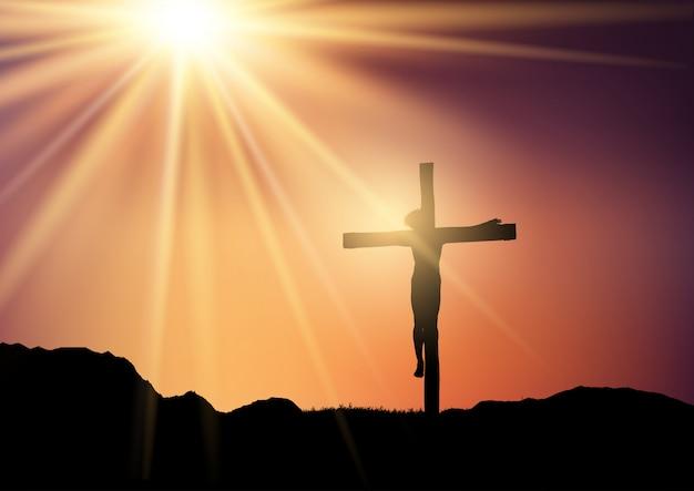 Sylwetka jezusa na krzyżu na tle nieba słońca