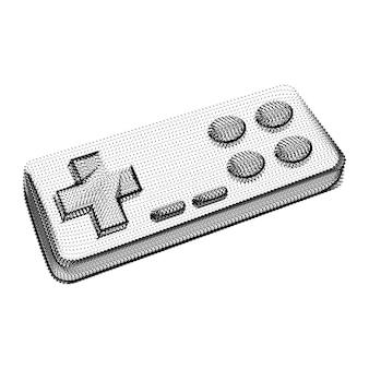 Sylwetka joysticka składająca się z czarnych kropek i drobinek. szkielet wektora 3d kontrolera gamepada z teksturą ziarna. abstrakcyjna geometryczna ikona z kropkowaną strukturą na białym tle