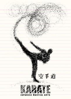 Sylwetka karateka robi trwanie bocznemu kopnięciu