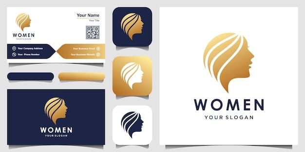 Sylwetka Kobiety Logo I Wizytówka Projekt Głowa Twarz Logo Na Białym Tle Użyj Do Salonu Piękności Spa Premium Wektorów