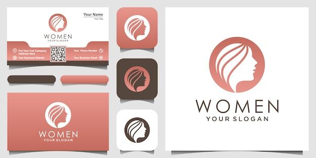 Sylwetka kobiety logo i wizytówki, głowa, logo twarz na białym tle. służy do salonu kosmetycznego, spa, projektowania kosmetyków itp