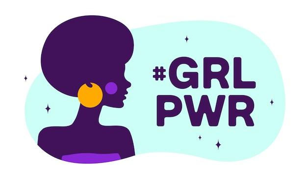Sylwetka kobiety mówić tekst bańki mowy girl power