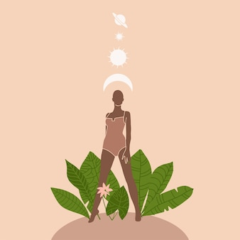 Sylwetka kobiety na tle liści i roślin, słońca i mon nad jej ilustracją w stylu boho
