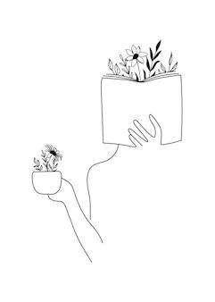 Sylwetka kobiety trzymającej książkę i kawę