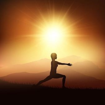 Sylwetka kobiety w pozycji jogi przed zachodem słońca krajobrazu
