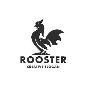 Sylwetka koguta kurczaka na białym tle szablon logo
