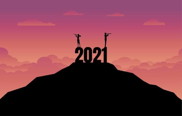 Sylwetka koncepcji sukcesu biznesowego w nowym roku 2021.