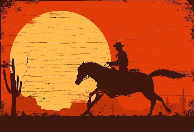 Sylwetka konia na koniu o zachodzie słońca