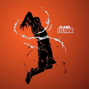 Sylwetka koszykówki slam dunk płomień