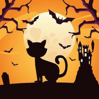 Sylwetka kota halloween z projektem nietoperzy, motywem wakacyjnym i przerażającym