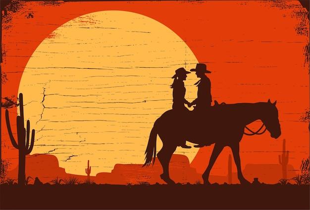 Sylwetka kowbojów jeżdżących na koniach