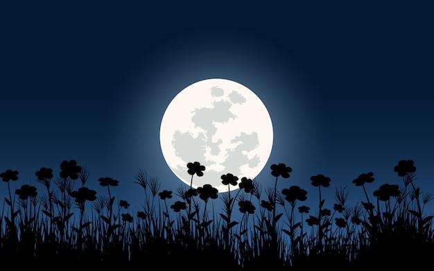 Sylwetka kwiatów przy pełni księżyca