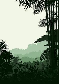 Sylwetka lasu tropikalnego tła