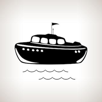 Sylwetka łódź na jasnym tle, czarno-biała ilustracja wektorowa