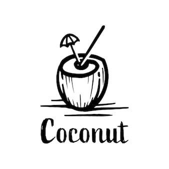 Sylwetka logo napój kokosowy. koktajl kokosowy ręcznie rysowane symbol naturalnego napoju