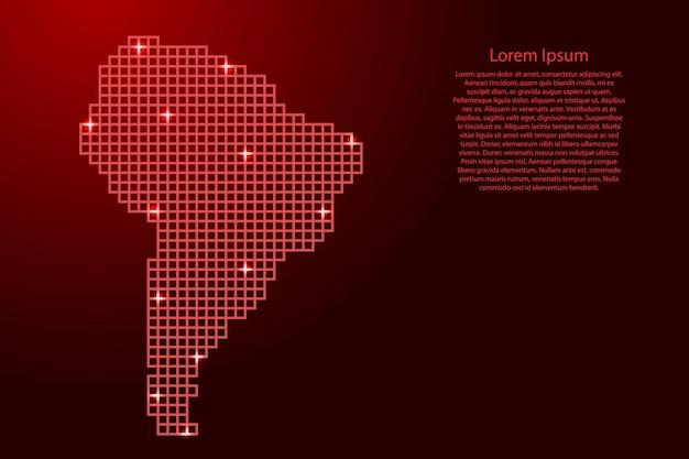 Sylwetka mapy ameryki południowej z czerwonych kwadratów struktury mozaiki i świecących gwiazd. ilustracja wektorowa.