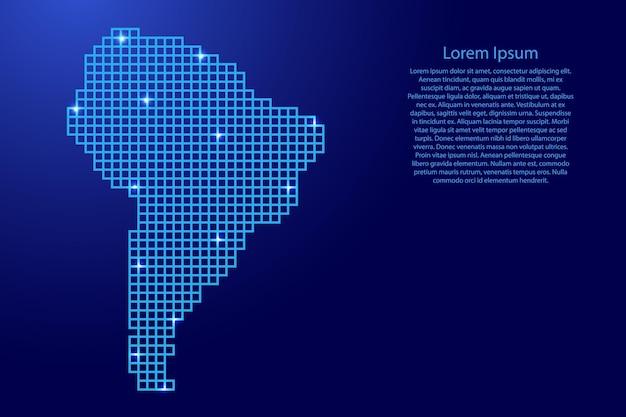 Sylwetka mapy ameryki południowej z niebieskich kwadratów struktury mozaiki i świecących gwiazd. ilustracja wektorowa.