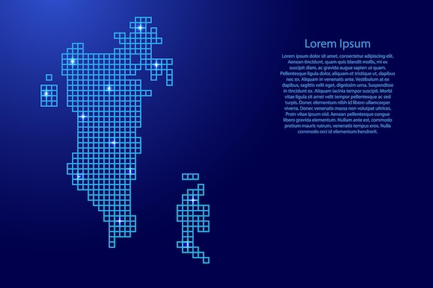 Sylwetka mapy bahrajnu z niebieskich kwadratów struktury mozaiki i świecących gwiazd. ilustracja wektorowa.