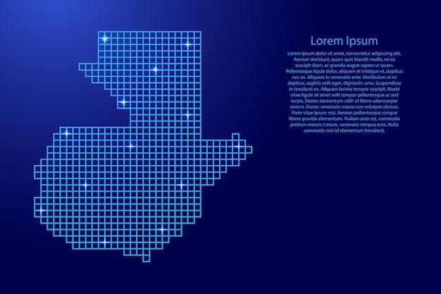 Sylwetka mapy gwatemali z niebieskich kwadratów struktury mozaiki i świecących gwiazd. ilustracja wektorowa.
