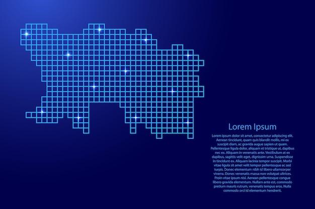 Sylwetka mapy jersey z niebieskich kwadratów o strukturze mozaiki i świecących gwiazd. ilustracja wektorowa.