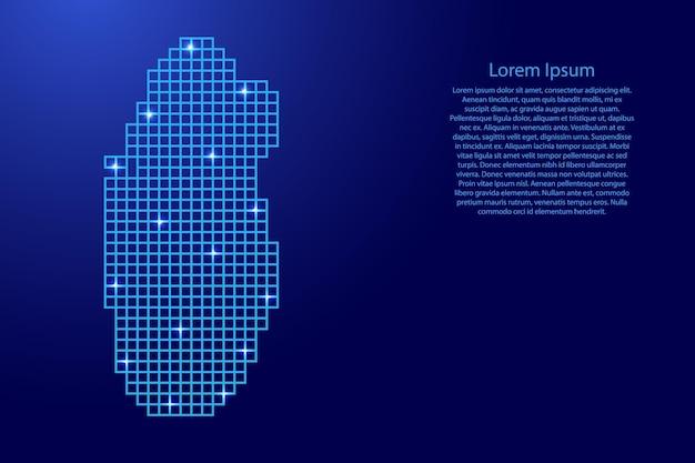 Sylwetka mapy kataru z niebieskich kwadratów struktury mozaiki i świecących gwiazd. ilustracja wektorowa.