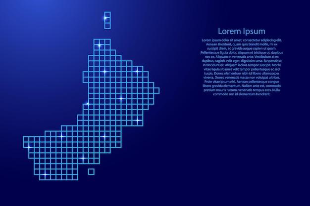 Sylwetka mapy omanu z niebieskich kwadratów struktury mozaiki i świecących gwiazd. ilustracja wektorowa.