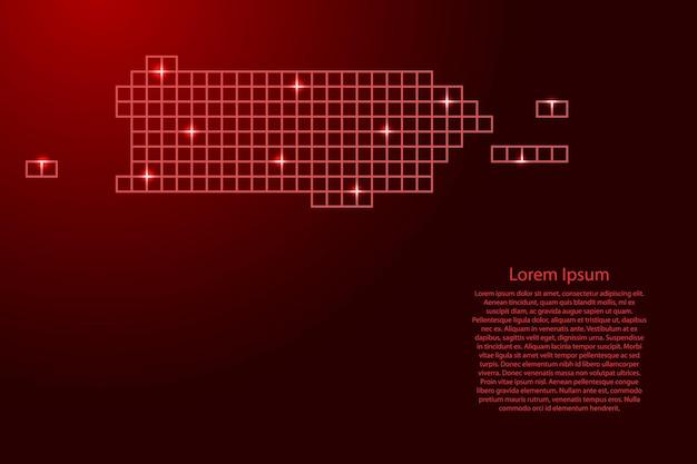 Sylwetka mapy portoryko z czerwonych kwadratów struktury mozaiki i świecących gwiazd. ilustracja wektorowa.