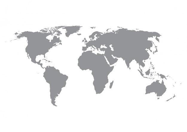 Sylwetka mapy świata w kolorze szarym na białym tle.