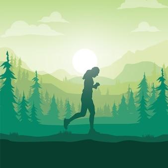 Sylwetka maratończyka.