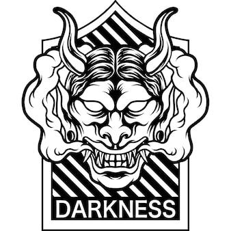 Sylwetka maski oni ciemności