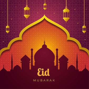 Sylwetka meczetu eid mubarak