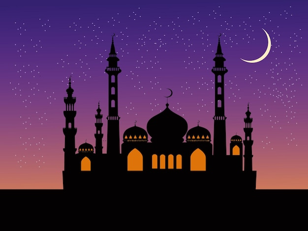 Sylwetka meczetu ma błękitne niebo i gwiazdy w tle.