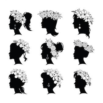 Sylwetka młoda kobieta fryzurę z kwiatami