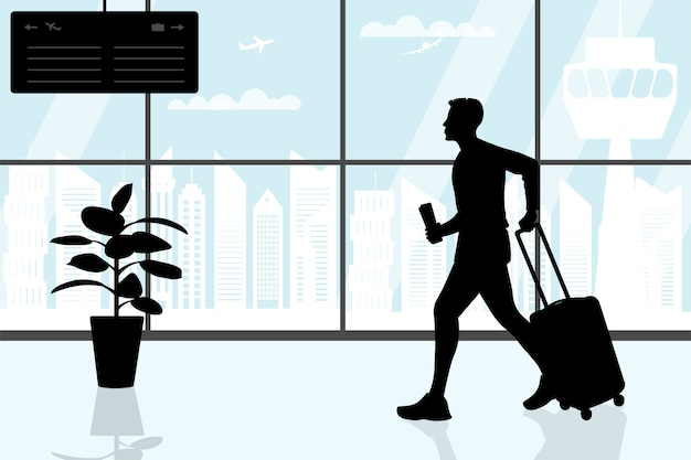 Sylwetka młodego człowieka na terminalu lotniska z walizką i kartą pokładową.
