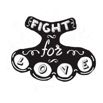Sylwetka mosiężnych kostek z napisem walcz o miłość. element