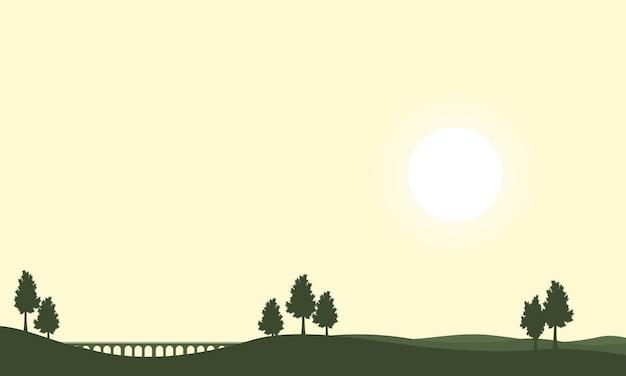 Sylwetka most na wzgórzach tło