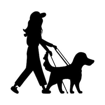 Sylwetka niewidoma kobieta z kijem idzie obok prowadzi psa przewodnika. retriever i człowiek na białym tle.