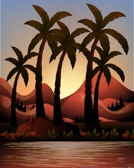 Sylwetka oceanu i palmy tło