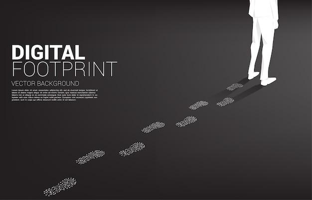Sylwetka odcisk stopy biznesmena z kropki połączyć obwód linii