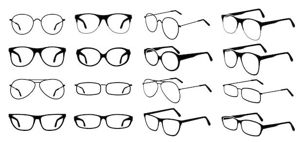 Sylwetka okulary. fajne okulary, modne czarne okulary. stylowe okulary przeciwsłoneczne w stylu retro. szklane okulary medyczne. zestaw ikon wektorowych. ilustracja okulary optyczne ze szkła, akcesoria do wizji sylwetka