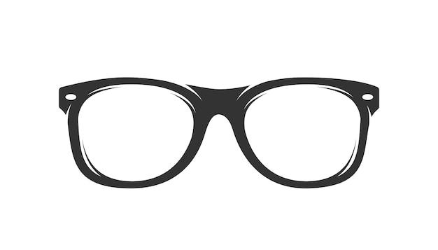 Sylwetka okulary na białym tle