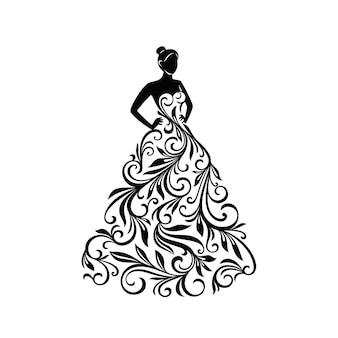 Sylwetka ornament kobieta w sukni do dekoracji ślubnych