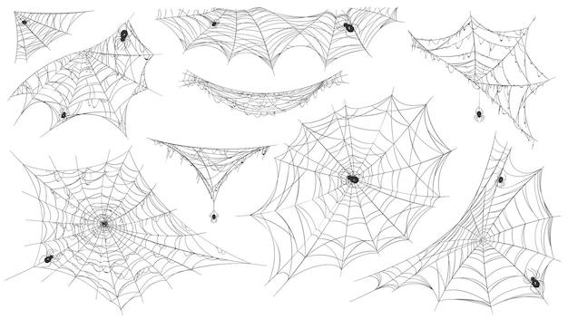 Sylwetka pajęczyna. wisząca pajęczyna z jadowitymi pająkami do dekoracji horroru helloween. upiorny element pajęczyny, pułapka netto w zestawie narożnym. ilustracja pułapka sylwetka lepka, pająki rogu